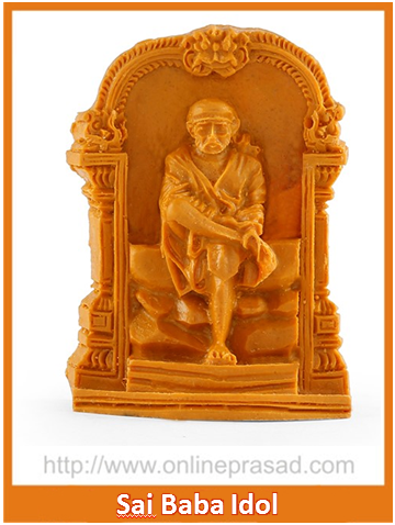 Sitting Sai Baba With Decorated Frame Idol , Zevotion Idols - Zevotion, OnlinePrasad.com