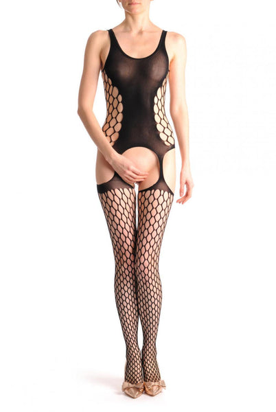 Large Net Bodystoking With Opaque Front Panel & Suspenders
