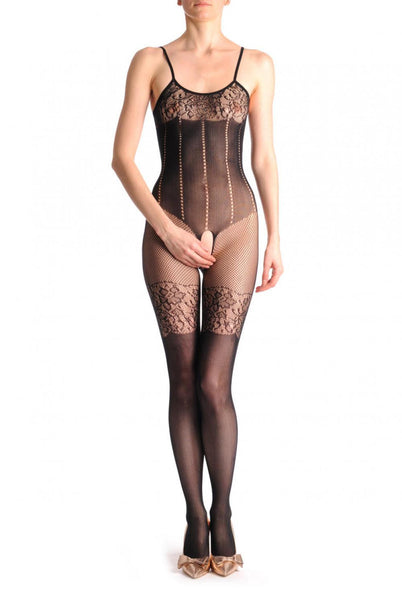 Black Suspender Bodystocking With Lace Garter & Lace Trim Corset