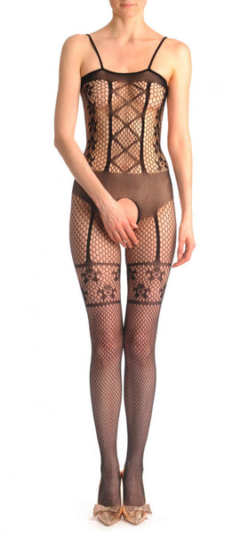 Medium Fishnet With Straps & Faux Suspenders & Corset Lace