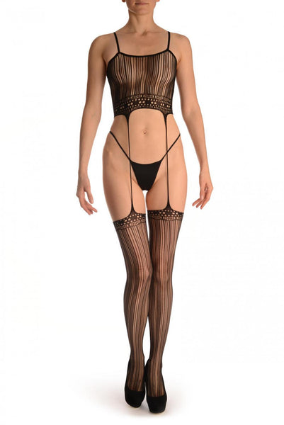 Black Burlesque Bodystocking With Attached Stockings