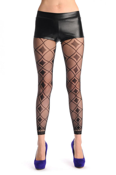 Black & Transparent Rectangles With Lace Trim Footless Fishnet