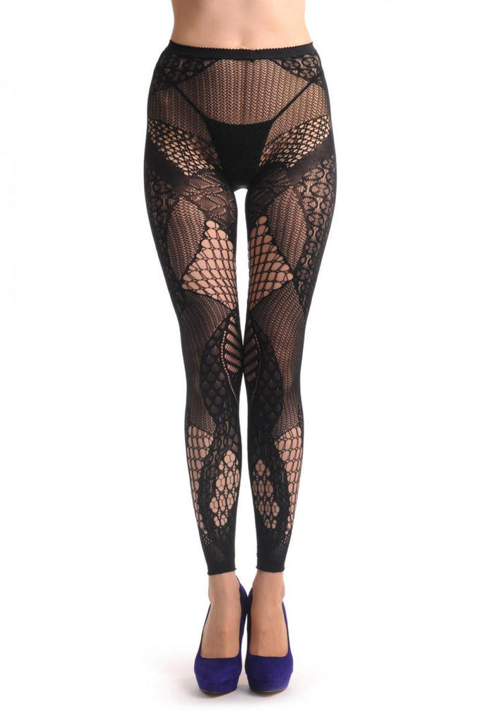 French Lace Mix Fishnet Footless