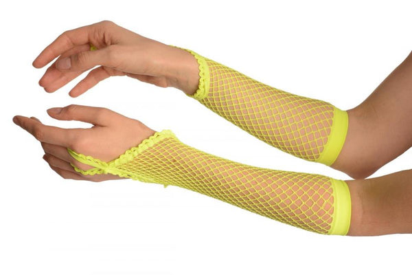 Neon Yellow Finger Loop Fishnet Party Gloves