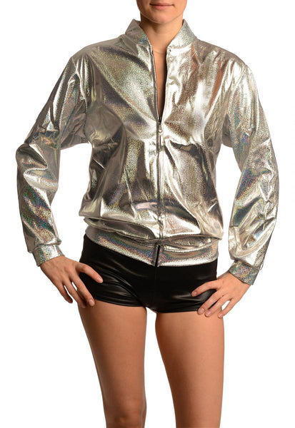 Silver Shiny Gloss Sparkles Unisex Zip Disco Jacket