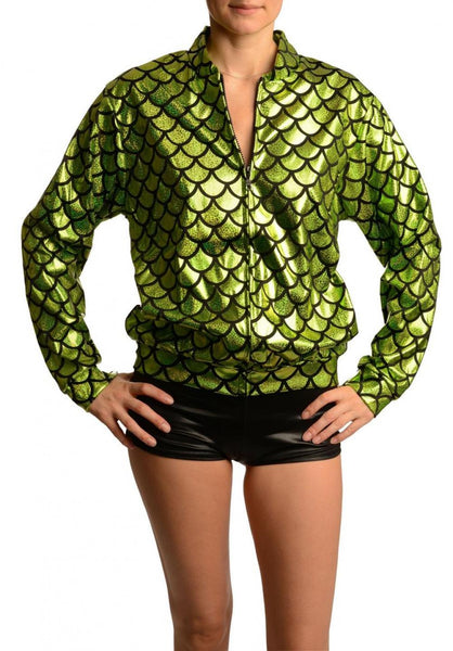 Green Shiny Gloss Mermaid Scales Unisex Zip Disco Jacket