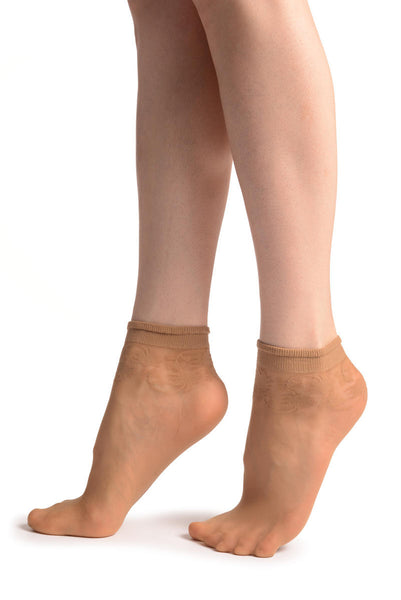 Beige With Wine Leaves Socks Ankle High