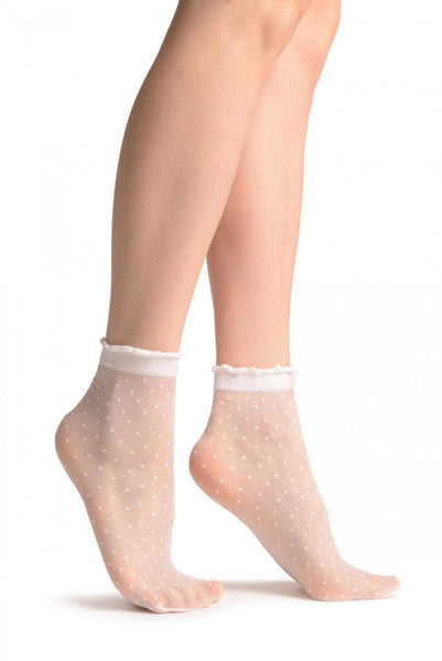 Small Polka Dots And Rounded Trim Top White Socks Ankle High 15 Den