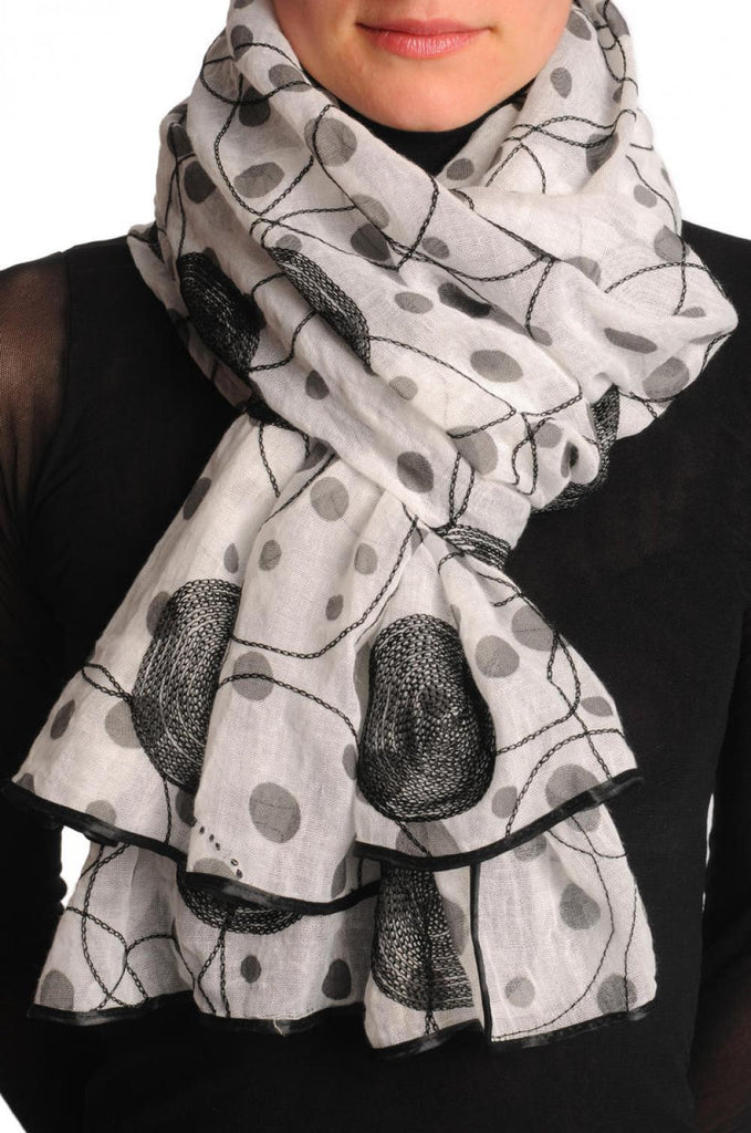 Black Sewn On Circles On White Unisex Scarf