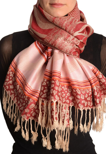 Assimetrical Ornaments On Dark Red Pashmina With Tassels