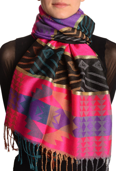 Aztec Patern On Pink & Purple With Gold Lurex Pashmina With Tassels