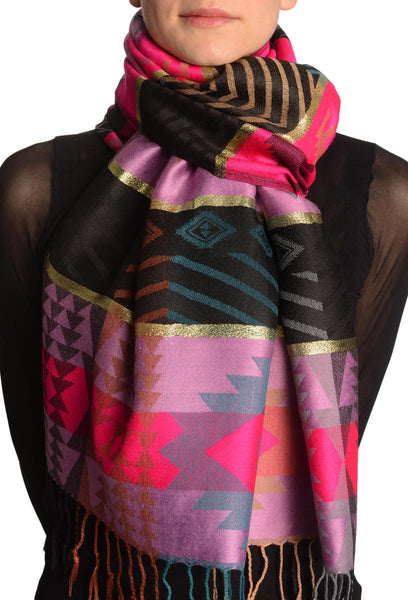 Aztec Patern On Puce Pink & Magenta With Gold Lurex Pashmina With Tassels