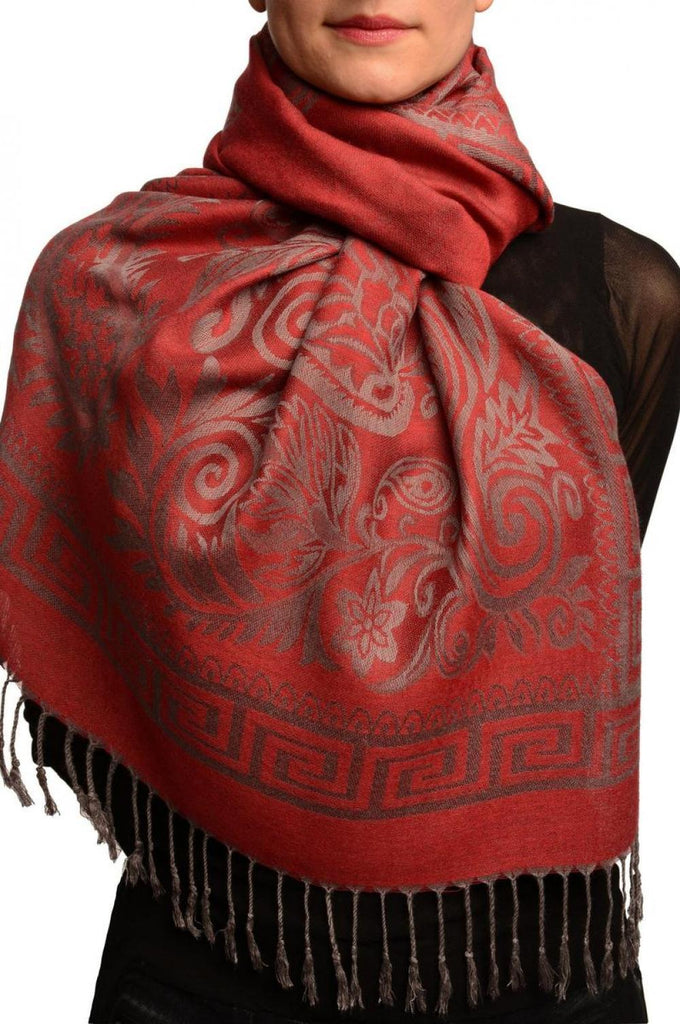 Meander & Paisleys On Dark Red Pashmina Feel With Tassels