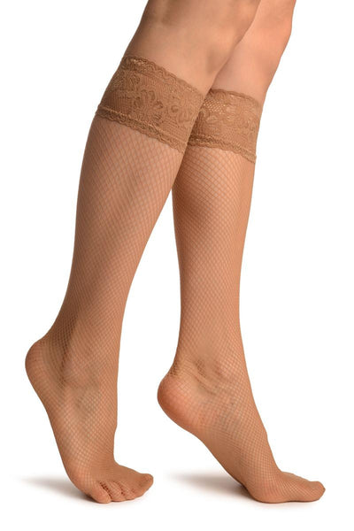 Beige Fishnet With Silicon Lace Socks Knee High