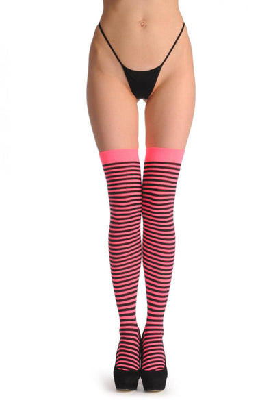 Black & Neon Pink Thin Stripes
