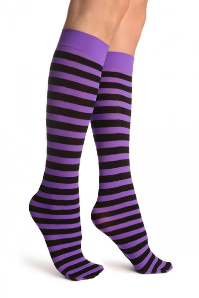Black & Bright Purple Stripes Socks Knee High