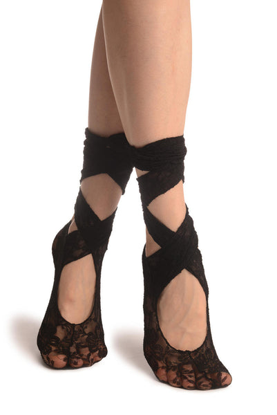 Black Stretch Lace Ballet Pointe Footies