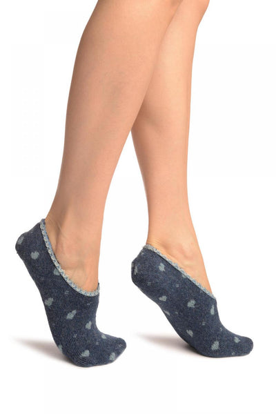 Hearts On Blue With Lace Trim Angora Footies Socks