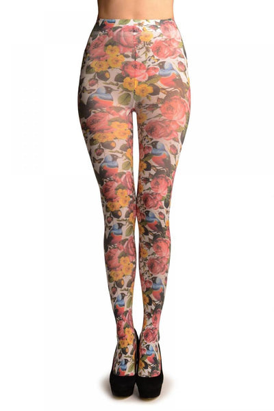 Birds & Roses On White Printed Tights