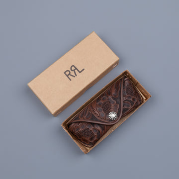 RRL Eyeglasses case traveler embossed leather