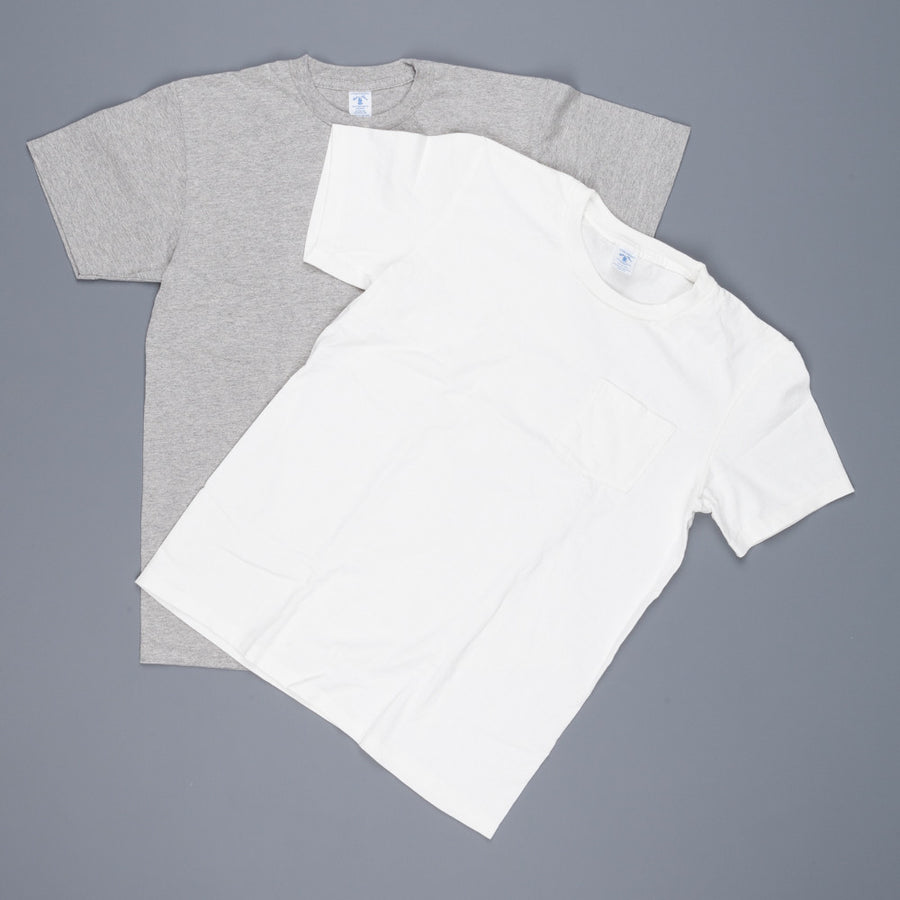 Velva Sheen 2 pack pocket tee 1white 1 heather grey