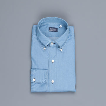 Finamore Gaeta shirt Lucio collar light denim bleached
