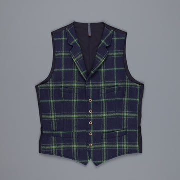 Montedoro Tweed Gilet blu medio green check