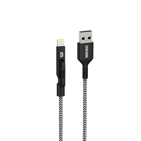 Black Zendure 2-in-1 Lightning/Micro USB Cable 1m