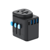 Passport Pro Resettable Grounded Travel Adapter with USB-C PD Fast Charging - Black