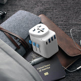 Passport Pro Resettable Grounded Travel Adapter with USB-C PD Fast Charging - White