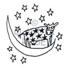 Moon Cow  Rubber Art Stamp