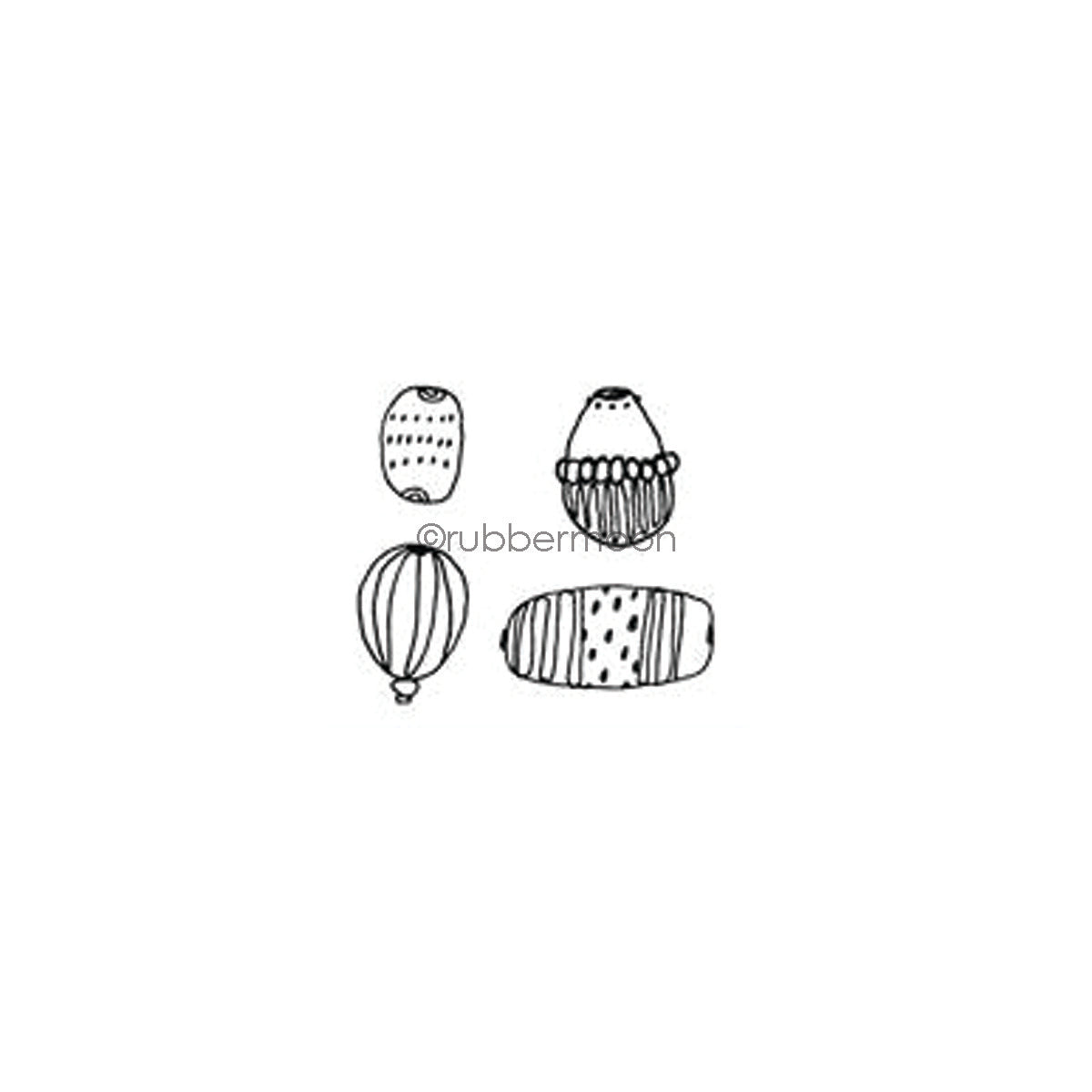 Kae Pea | KP7344G - Doodle Beads Cube - Rubber Art Stamp
