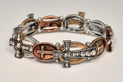 Crosses Bracelet with Crystal Accents - Catholic Shoppe USA