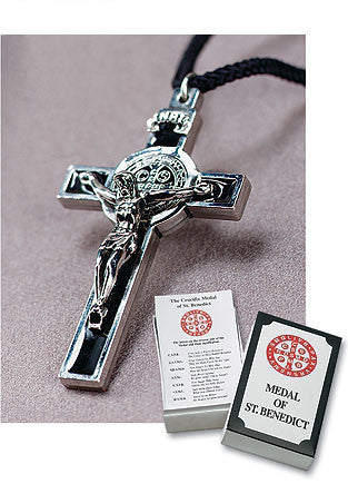 Crucifix Medal of St. Benedict - Black - Catholic Shoppe USA