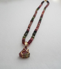 Tourmaline and gold bead necklace with watermelon  charm