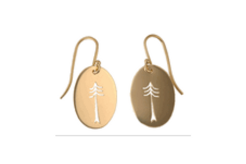 Pine Tree Cut Out Earrings in 14k Yellow Gold