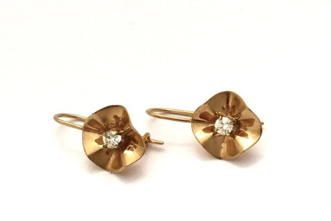 Fluted: Yellow Gold and Diamond Earrings