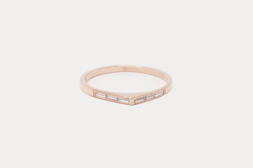 Thin Bateau Ring 1.0 <br> Diamond Baguette ⟡ 14k Rose Gold - size 5