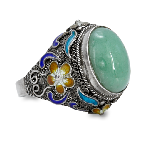 Jade and Enamel Sterling Silver Ring