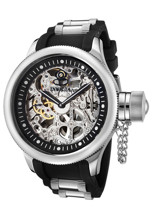Invicta Men's 1088 Russian Diver Stainless Steel and Black Polyurethane Mechanical Watch with Skeleton Window