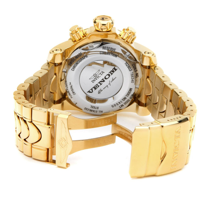 Invicta 14505 Venom Chronograph Silver Dial Gold Ion-plated Mens Watch