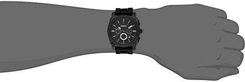 Fossil Men's FS4487 Machine Chronograph Black Stainless Steel Watch with Silicone Band