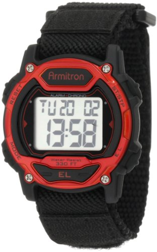 Armitron Sport Unisex 457004RED Silver-Tone and Red Accented Chronograph Digital Watch