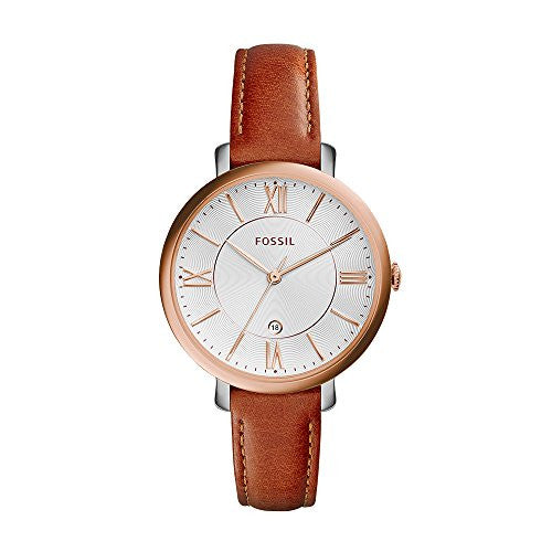 Fossil Women's ES3842 Jacqueline Rose Gold-Tone Stainless Steel Watch with Brown Leather Band