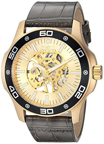 Invicta Men's 'Specialty' Mechanical Hand Wind Gold-Tone and Leather Casual Watch, Color:Grey (Model: 17262)