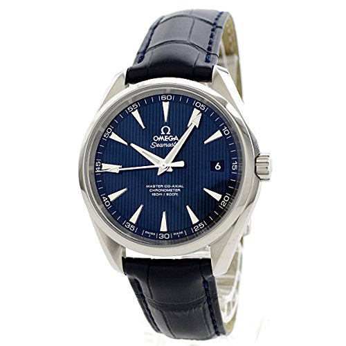 Omega Men's 'Seamaster150' Swiss Automatic Stainless Steel and Leather Dress Watch, Color:Blue (Model: 23113422103001)