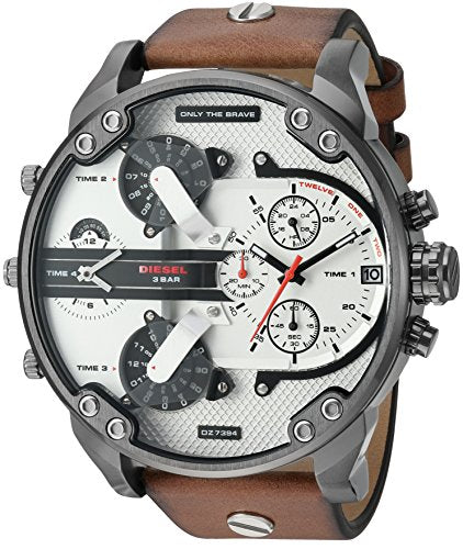Diesel Men's DZ7394 Mr. Daddy 2.0 Gunmetal IP Brown Leather Watch