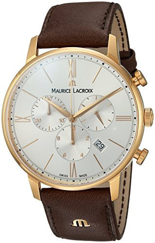Maurice Lacroix Men's 'Eliros' Swiss Quartz Gold-Tone and Leather Casual Watch, Color:Brown (Model: EL1098-PVP01-111-1)