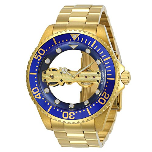 Invicta 24695 Men's Pro Diver Ghost Bridge Blue & Gold Transparent Dial Yellow Gold Bracelet Watch