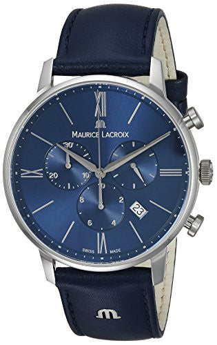 Maurice Lacroix Men's 'Eliros' Quartz Stainless Steel and Leather Casual Watch, Color:Blue (Model: EL1098-SS001-410-1)